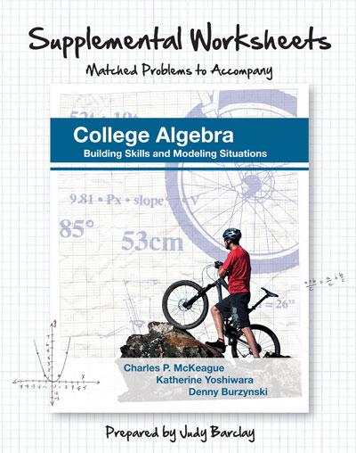 picture of Supplemental Worksheets for McKeague's College Algebra